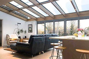 Soalrlux Oak Glass Roof with bifold doors