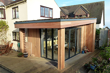 Solarlux SL60e bifolding doors with post-free corner