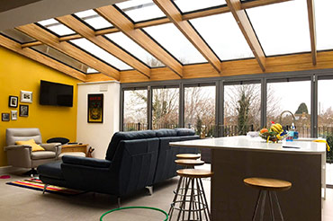 Solarlux oak/aluminium Glass Roof with bifold doors